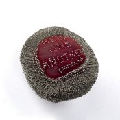 Pin cushion made for The General Strike 1924 with inscription to each side 'Help One Another' and '
