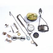 Collection of items to include: papier mache snuff box, silver spirit label, gilt metal studs,