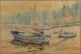 S. Muschamp (20th Century School) 'Boats' watercolour, signed lower left, 25cm x 38cm