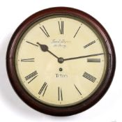 Jacob Burn dial clock 20th Century, in mahogany case, the painted dial with Roman numerals,