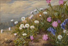 Marian Emma Chase (1844-1905) Daisies and bluebells in a meadow, watercolour, signed and dated 1871,
