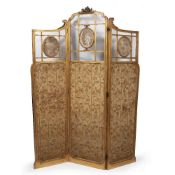 Giltwood three fold screen French, with inset oval panels and silk larger panels below, 144cm