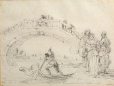 Richard Wilson (British, 1714-1782) Ponte Vigo at Chioggia, pencil drawing, 15cm x 20cm