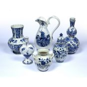 Six pieces of contemporary Delft pottery the tallest ewer measures 35cm, all with contemporary marks