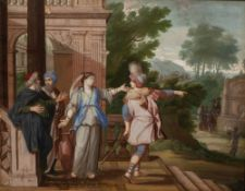 Attributed to Pierre I le Bon Patel (c1605-1707) Laban goes out to Abraham's manservant (Genesis,