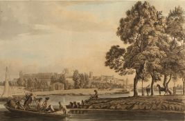 Paul Sandby Windsor Castle from the Thames, aquatint engraving, hand coloured, 29.5cm x 45cm