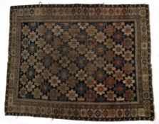 Shirvan blue ground rug with large rectangular panel of foliate motifs, 123cm x 154cm