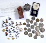 Collection of items to include: A boxed Chinese seal, Chinese white metal box, pair of 9ct gold
