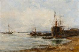 Robert William Arthur Rouse (fl.1882-1929) Busy shipping scene, oil on board, signed, 31cm x 43cm