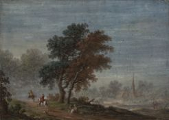 Late 17th Century Dutch/ German School A country scene with village church and riders and figures to