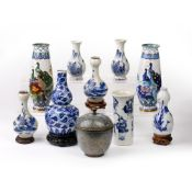 Blue and white porcelain double gourd vase Chinese, 19th Century, 19cm high, a pair of cloisonne
