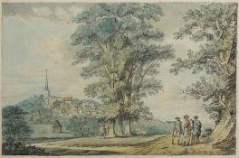 Paul Sandby (British, 1731-1809) ''Harrow-on-the-Hill'', pen, ink and watercolour, 19cm x 29cm