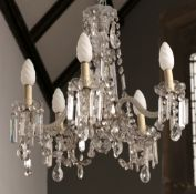 Five branch glass chandelier with rope twist supports, glass lozenge and tear drops, 60cm across x