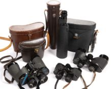 Three pairs of binoculars in original cases, to include Carl Zeiss model and a cased one drawer '