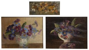 Kate Delhanty 'Dried flowers' oils on board, signed, inscribed verso 6.25cm x 14cm, and a pair of