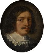 Late 17th Century Italian/ Spanish School Miniature portrait of a gentleman with a lace ruff, oil on