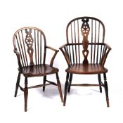 Elm and ash Windsor chair early 19th Century, 100cm high, 60cm across and a smaller wheel-back