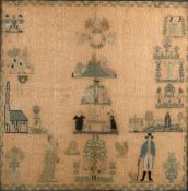 Adam & Eve needlework sampler early 19th Century, worked in coloured threads, unsigned and