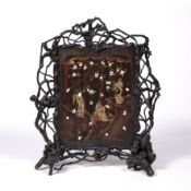 Lacquer and shibayama screen Japanese, Meiji set with three figures in a garden setting with blossom