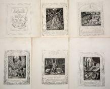 After William Blake Illustrations of the Book of Job, 19 loose leaf plates, 38cm x 27cm