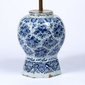 Delft porcelain vase, converted into a lamp with indistinct marks to the base, the vase excluding