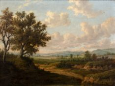19th Century English School An extensive pastoral landscape view with two figures resting on a path,