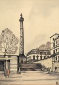 English School Duke of York's Column and Steps, London, pen, ink and wash, signed with monogram