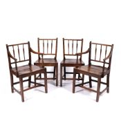 Pair of elm and ash stick-back elbow chairs 19th Century, and a pair of similar standard chairs,
