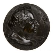 Bronze circular relief plaque depicting the portrait head of Francois Jules Edmond Got, 17.5cm