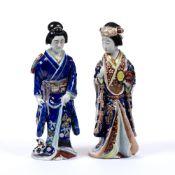 Pair of standing Kutani model Bijins Japanese, late 19th Century, each wearing traditional kimono