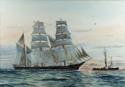 B. Bevis (20th Century English School) 'Favell, steel barque vessel' watercolour, signed lower left,