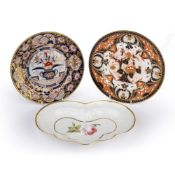 Chamberlain Worcester dish and plate and a Spode plate, all circa 1820-30, dessert dish embossed and