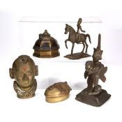 Group of artifacts Indian/Tibetan including a standing bronze deity, 15cm high, a brass and jewelled