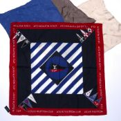 Set of three Louis Vuitton silk pocket squares or handkerchiefs in taupe, beige and blue, unboxed
