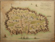 Antiquarian map of Saint Helena based upon the work of John Seller 'The Geographical Plan of The