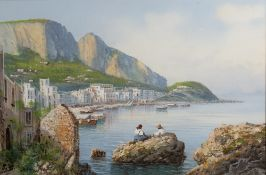 Y Gianni (Italian, 19th/20th Century) The Bay of Naples with figures seated on rocks and surveying