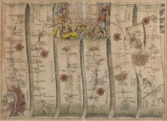 Pair of Antiquarian road maps 'London to Aberistwith' (sic) engraved by John Ogilby with later