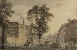 Paul Sandby RA (British, 1731-1809) Street scene, Charlton, Kent, inscribed ''Charlton in Kent''