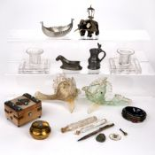 Group of items to include: Pair of Murano glass fish, pair of Stuart crystal glass candlesticks,