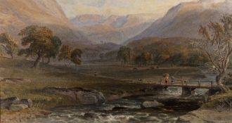 George Arthur Fripp (1813-1896) 'River valley in the Highlands' watercolour, signed and dated 1861