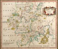 Antiquarian map of Worcestershire engraved by Robert Morden with later hand coloured decoration,