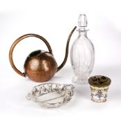 Collection of items to include: Stuart crystal cut glass decanter, silver filigree overlay serving