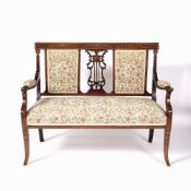 Satinwood and inlaid sofa Edwardian, 116cm across, 93.5cm high and four matching salon chairs,