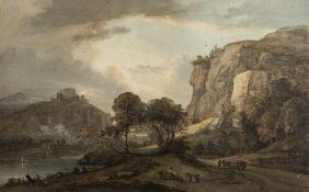 Paul Sandby RA (British,1731-1809) A capriccio landscape in North Wales with hilltop buildings to