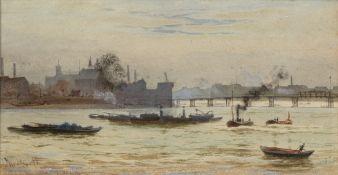 Hubert James Medlycott (1841-1920) 'View of Battersea Bridge, London' watercolour, signed lower