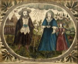 Silk study of a family group English, 18th Century, painted in a cartouche with three figures, set