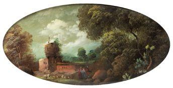Italian / French School Oval landscape scene, oil on copper, in an ormolu frame with ribbon tie,