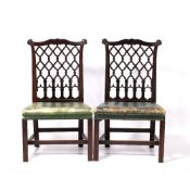 Pair of Chinese Chippendale style chairs circa 1900, each with lattice back and green