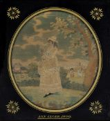 Two silkwork oval studies early 19th Century, each depicting shepherd girls and one marked Ann