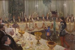 Sir Amelee Forestier (Anglo-French, 1854-1930) A view of a ceremonial dinner, inscribed '' to Guy